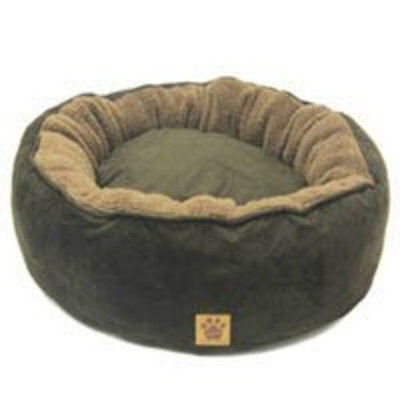 Precision Pet Donut Bed with Reversible Pillow 27 in. Tan Simply Suede Berber