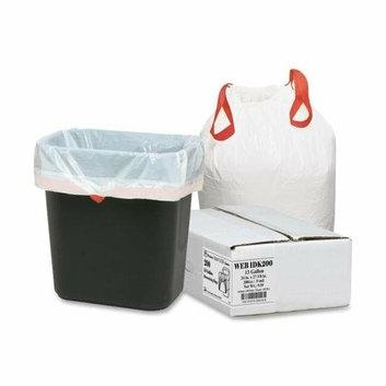 Webster 1DK200 Drawstring Trash Liners .9 Mil 13Gal 24-1/2inx27-3/8in 200/BX