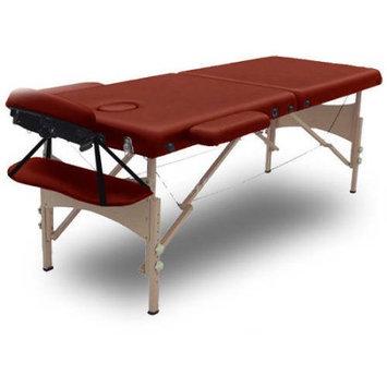 Modern Home Serenity Deluxe Portable Folding Massage Table w/5 Bonus Items - Merlot Burgundy