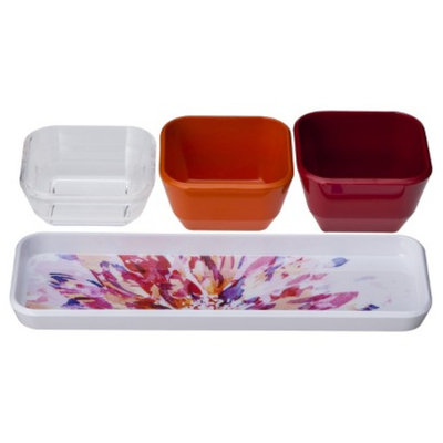 Room Essentials Floral Warm Dip Bowl with Tray Set of 4 - White/Red