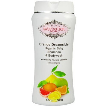 Sweetsation Therapy Orange*Dreamsicle Organic Baby Shampoo & Bodywash, with proteins, Kiwi and Calendula, 6.6oz