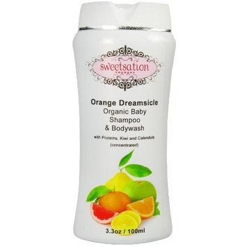 Sweetsation Therapy Orange*Dreamsicle Organic Baby Shampoo & Bodywash, with proteins, Kiwi and Calendula, 6.6oz