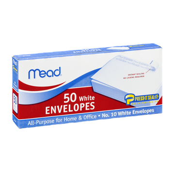 Mead No. 10 White Envelopes Self Adhesive 4 1/8in x 9 1/2in - 50 CT