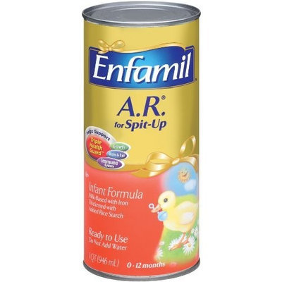 Enfamil A.R. Milk-Based Infant Formula, Iron Fortified, 1-Quart Cans (Pack of 6)