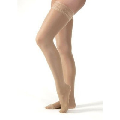 Jobst Women's Ultrasheer 20-30 mmHg Thigh High Firm Support Sock with Silicone Dot Top Band Size: Large, Color: Suntan