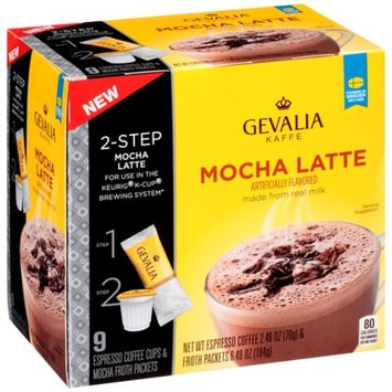 Gevalia Mocha Latte Espresso Single Cups and Froth Packets 9 ct