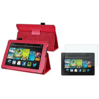 Insten INSTEN Red Leather Case Stand Cover+Matte Protector For Amazon Kindle Fire HD 7 2nd Gen