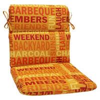 Pillow Perfect Outdoor Round Edge Chair Cushion - Yellow/Orange Grillin