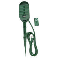 Coleman Cable 6 Outlet Power Stake With Built In Timer And Remote (59785)