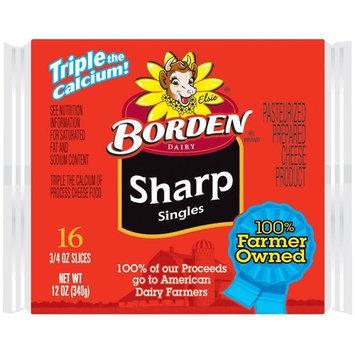 Borden Singles Sharp Cheese Slices, 0.75 oz, 16 count