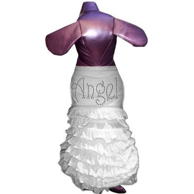 Pet Tease Angel Frill Dog Dress, White with Rhinestone Lettering