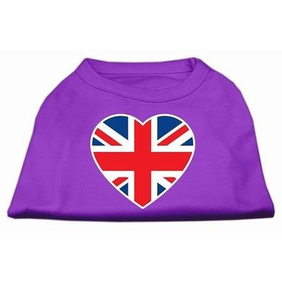 Ahi British Flag Heart Screen Print Shirt Purple XL (16)