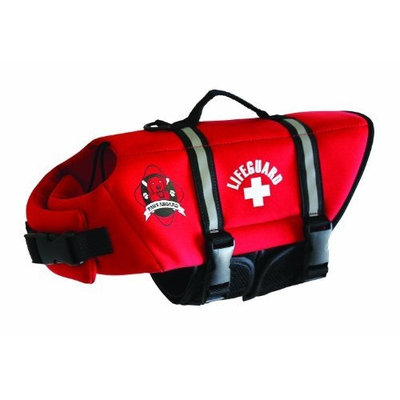 Paws Aboard Extra Small Neoprene Designer Doggy Life Jacket, Red Lifeguard