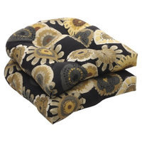 Pillow Perfect Outdoor 2-Piece Wicker Chair Cushion Set - Black/Yellow Floral