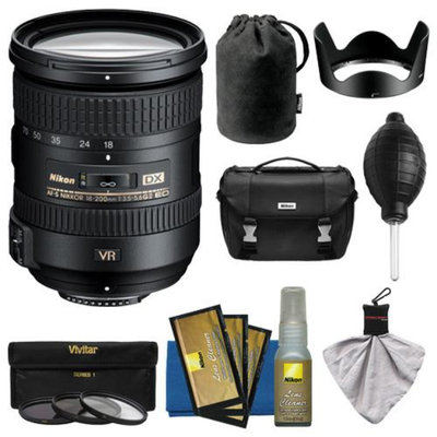 Nikon 18-200mm f/3.5-5.6G VR II DX ED AF-S Nikkor-Zoom Lens with HB-35 Hood & Pouch Case + Nikon Case + 3 UV/FLD/CPL Filters + Kit for D3200, D3300, D5200, D5300, D7000, D7100 DSLR Cameras