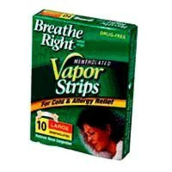 Breathe Right Nasal Strips, for Colds, with Vicks Mentholated Vapors, Large 10 ea