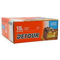 24 Detour Lower Sugar Triple Layer 15g Protein Bar, - 1.5oz bars Caramel Peanut, (Value pack 24 bars!)
