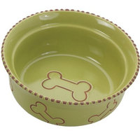 Ethical Pet Products (Spot) DSO6906 Terra Cotta Stoneware Dog Dish, 7-Inch, Green