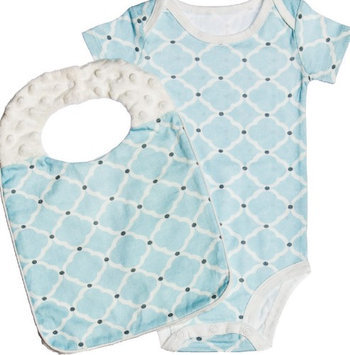 Evergreen Enterprises Stylish Everyday Blue Quatrefoil Bodysuit With Bib Set Of 2