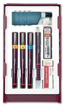Rotring Isograph College Set Pens, Mechanical Pencil, Eraser, Compass