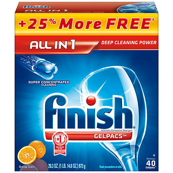 Finish Gelpacs Orange Scent Automatic Dishwasher Detergent