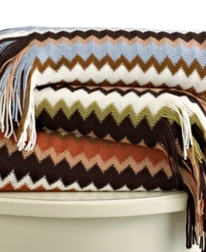 Ideanuova Westerly Bedding, Multi Zigzag Knit Throw Bedding