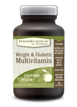 FoodScience of Vermont Weight and Diabetic Multivitamin, Gluten Free and No GMOs, 90 Caplets