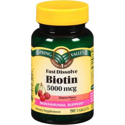 Spring Valley Cherry Flavor Fast Dissolve Biotin Dietary Supplement Tablets, 5000mcg, 90 count