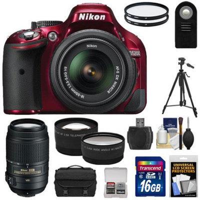 Nikon D5200 Digital SLR Camera & 18-55mm G VR DX AF-S Zoom Lens (Red) with 55-300mm VR Lens + 16GB Card + Case + Filters + Tele/Wide Lenses + Tripod + Remote + Accessory Kit