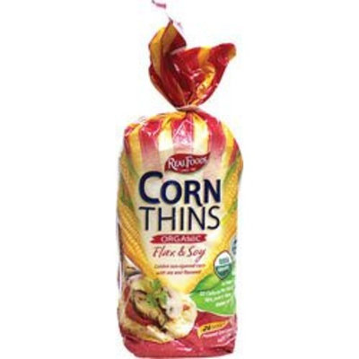 Real Foods Organic Flax and Soy Corn Thins, 5.3 Ounce -- 6 per case.
