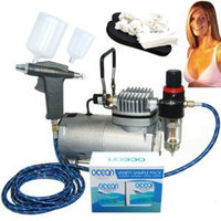 Professional Turbo Tan Airbrush Sunless Tanning System with a Trigger Style Gravity Feed Airbrush Gun plus a 4 Solution Variety Pack (1 Pint Total), and an Accessories Kit