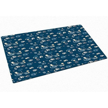 Drymate Large Dog Bowl Place Mat with Pawcasso Design, 12-Inch by 20-Inch, Dark Blue