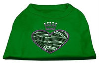 Ahi Zebra Heart Rhinestone Dog Shirt Emerald Green Med (12)