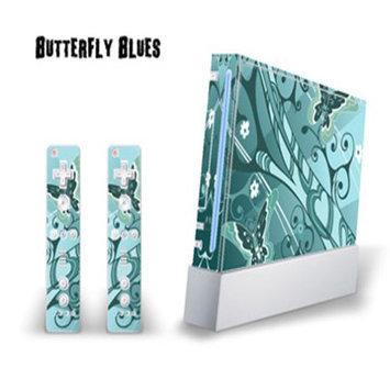 MightySkins Nintendo Wii Skin - System Console Skin and two Wii Remote Skins - Butterfly Blues