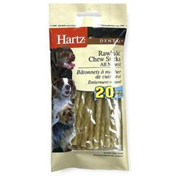 Hartz 20 Pack Natural Dental Munchy Rawhide Sticks 83356