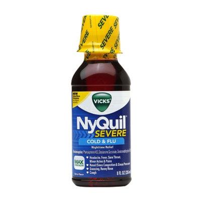 Vicks Nyquil Severe Cold & Flu Nighttime Relief Liquid, Berry, 8 fl oz