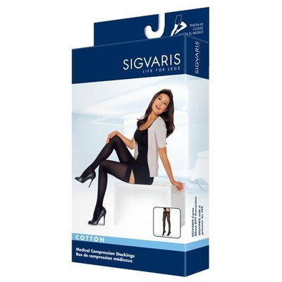 Sigvaris Women's Cotton Thigh High with Grip Top 20-30mmHg Closed Toe Long Length, Small Long, Black