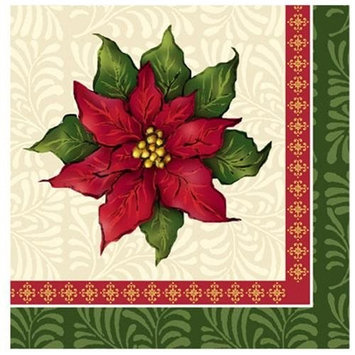 Hanna K Signature Hanna K. Signature 99030 Poinsettia Christmas Beverage Napkin - 2592 Per Case