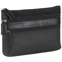 Budd Leather Pebble Grained Leather Triple Zip Cosmetic Case