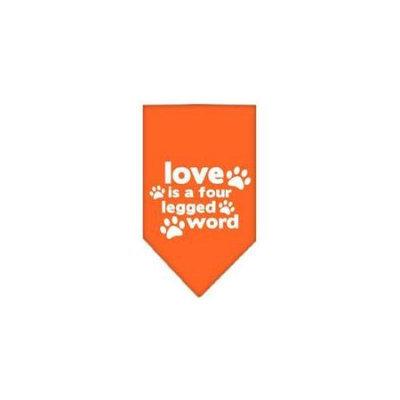 Ahi Love is a Four Leg Word Screen Print Bandana Orange Large
