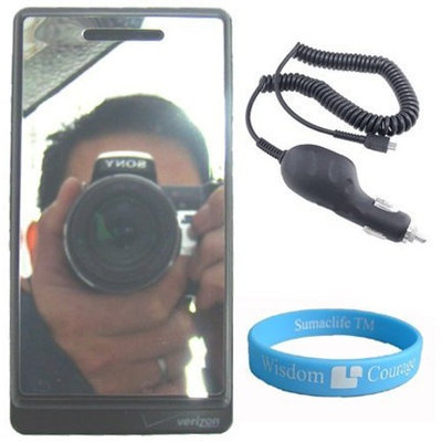 Kroo Droid By Motorola Mirror Screen Protector for Droid + Motorola Driod Car Charger + Wisdom*courage Wristband
