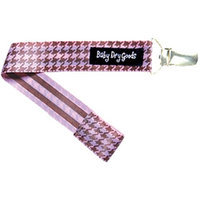 Baby Dry Goods 03015 PinkBrown Houndstooth Pacifier Clip