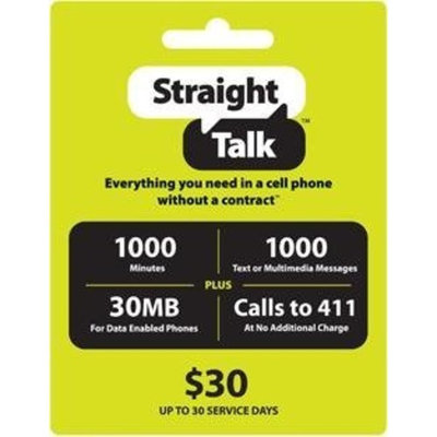 Chap-ice Straight Talk $30 Phone Card - 1000 Minutes, 1000 Texts & 30MB Web Access (Mail Delivery)