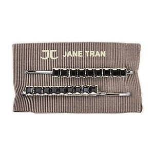 Jane Tran Hair Accessories Single Row Square Crystal Bobby Pin Set