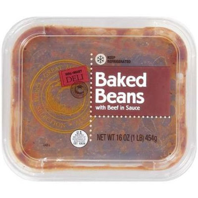 Wal-Mart Deli: W/Beef In Sauce Baked Beans, 16 oz