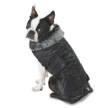 Petrageous Designs Boston Black Dog Parka Vest - X-Small