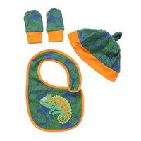 Rockin' Baby Blue & Green Lizard Cozy Bib Set