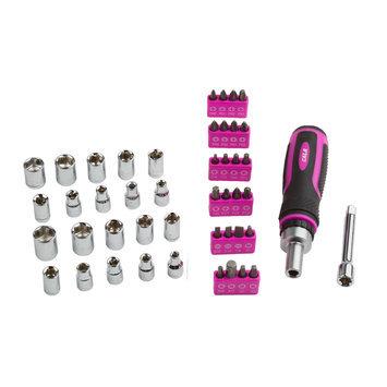 David Shaw Silverware Na Ltd Cala Pink Ratcheting Driver With Socket and Bits Set - David Shaw Silverware NA LTD