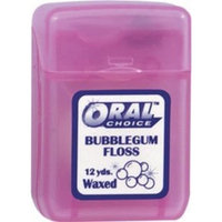 Oral Choice Waxed Bubblegum Ribbon Dental Floss, 12 pcs