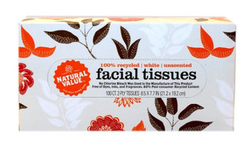 Natural Value Facial Tissues 2-Ply Unscented 100 Tissues
